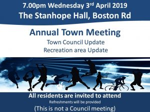 Annual Town Meeting 3rd April 7pm, The Stanhope Hall